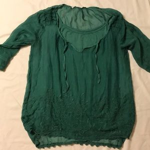 Green silk embroidered shirt with tank